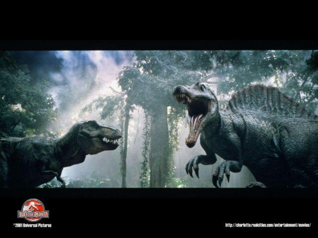 ティラノサウルス(左)とスピノサウルス(右)